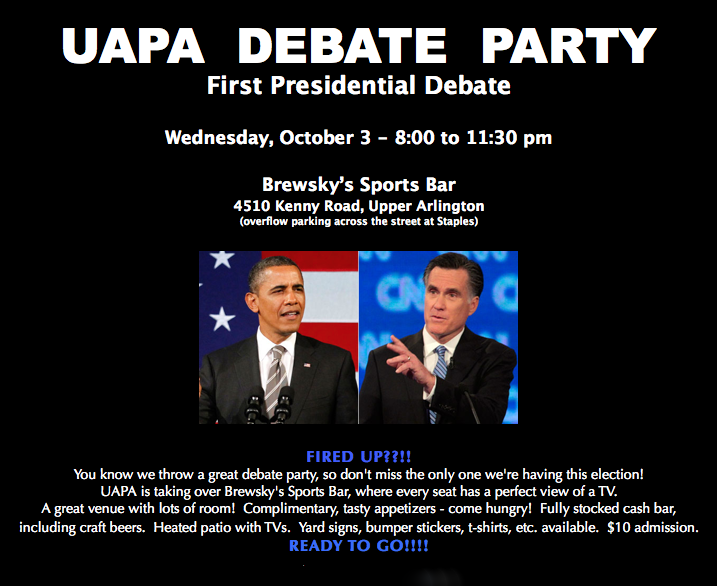 Flyer showing debate party information
